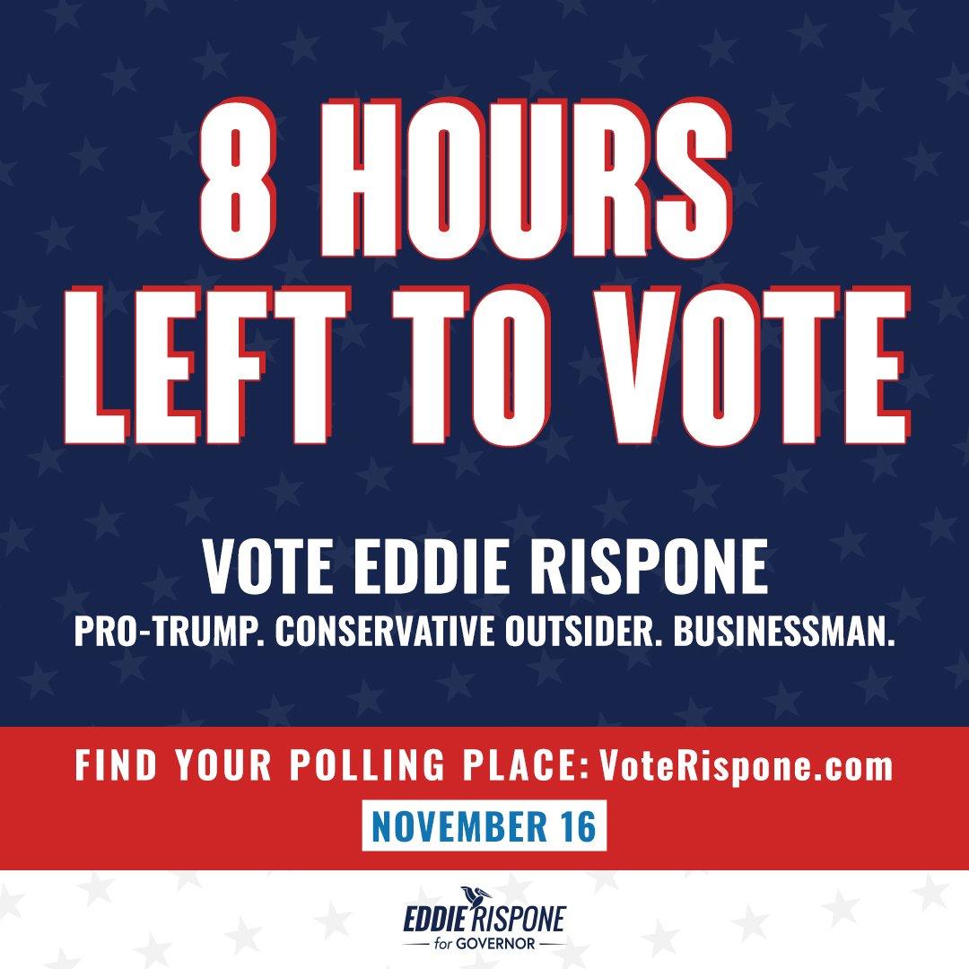 🚨8 HOURS UNTIL THE POLLS CLOSE🚨 1. Go to VoteRispone.com. 2. Find your polling information. 3. Get out and vote John Bel Edwards out! #LAGov #VoteRispone