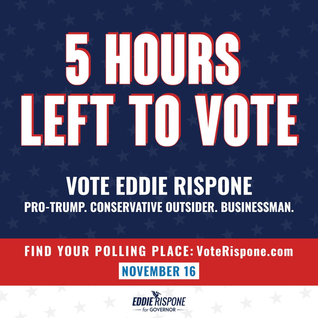 There are only 5 hours left until the polls close. You got back from hunting, now go vote before the LSU game tonight! Head to VoteRispone.com to find your polling location and then #VoteRispone. #LAGov