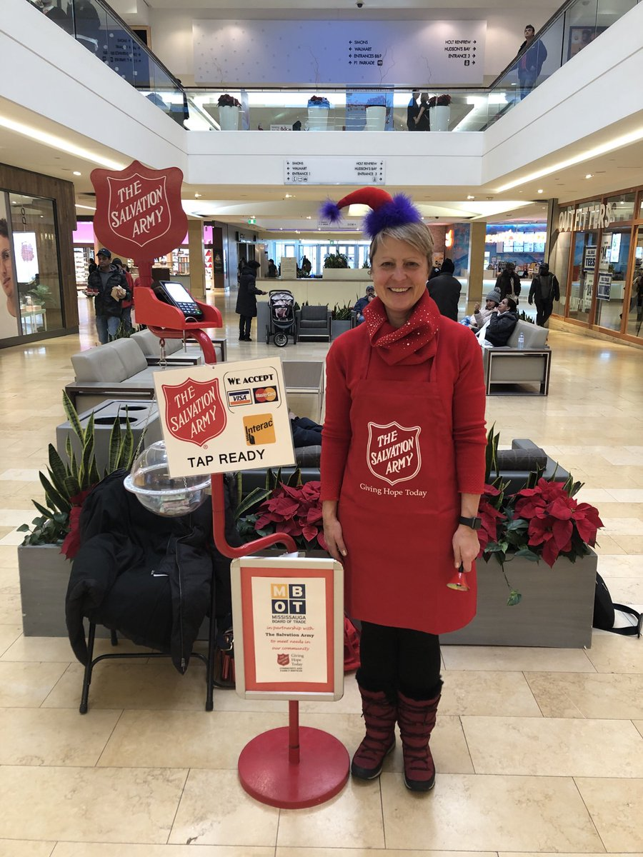 Salvation Army kettle bell campaign at square one today. Come and visit all the MBOT ambassadors and staff! ⁦@MBOTOntario⁩