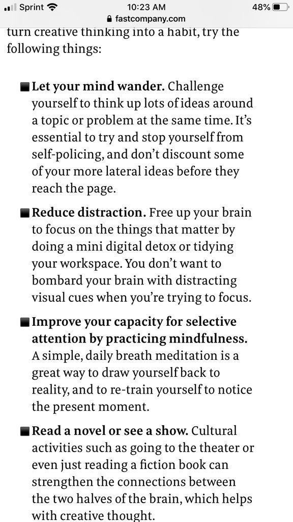 HOW WE CAN LEARN TO CULTIVATE CREATIVE THINKING (by Tara Swart in @FastCompany)