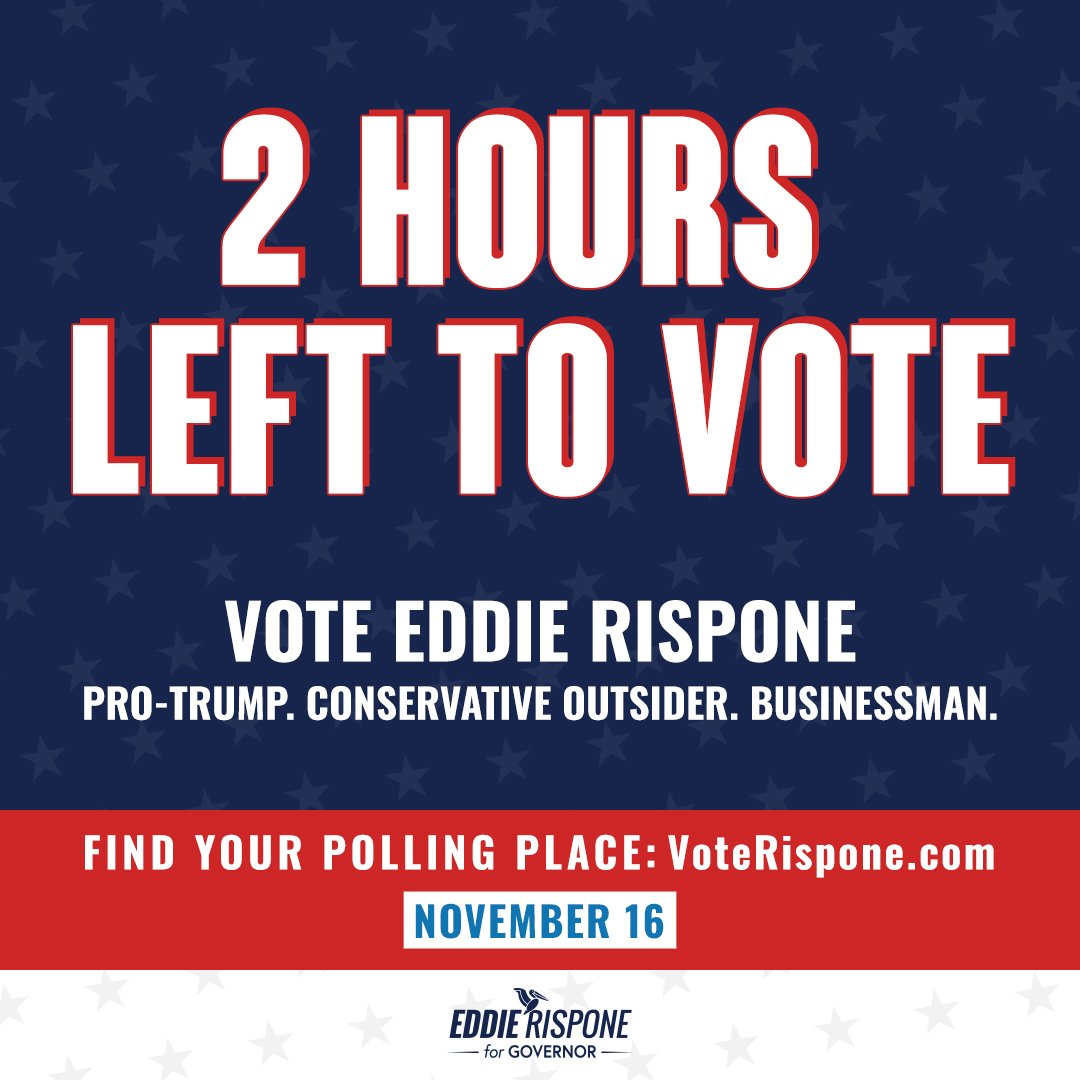 2 hours left to #VoteRispone so we can finally do for Louisiana what @realDonaldTrump has done for America. Go to VoteRispone.com to find out where to vote! #LAGov