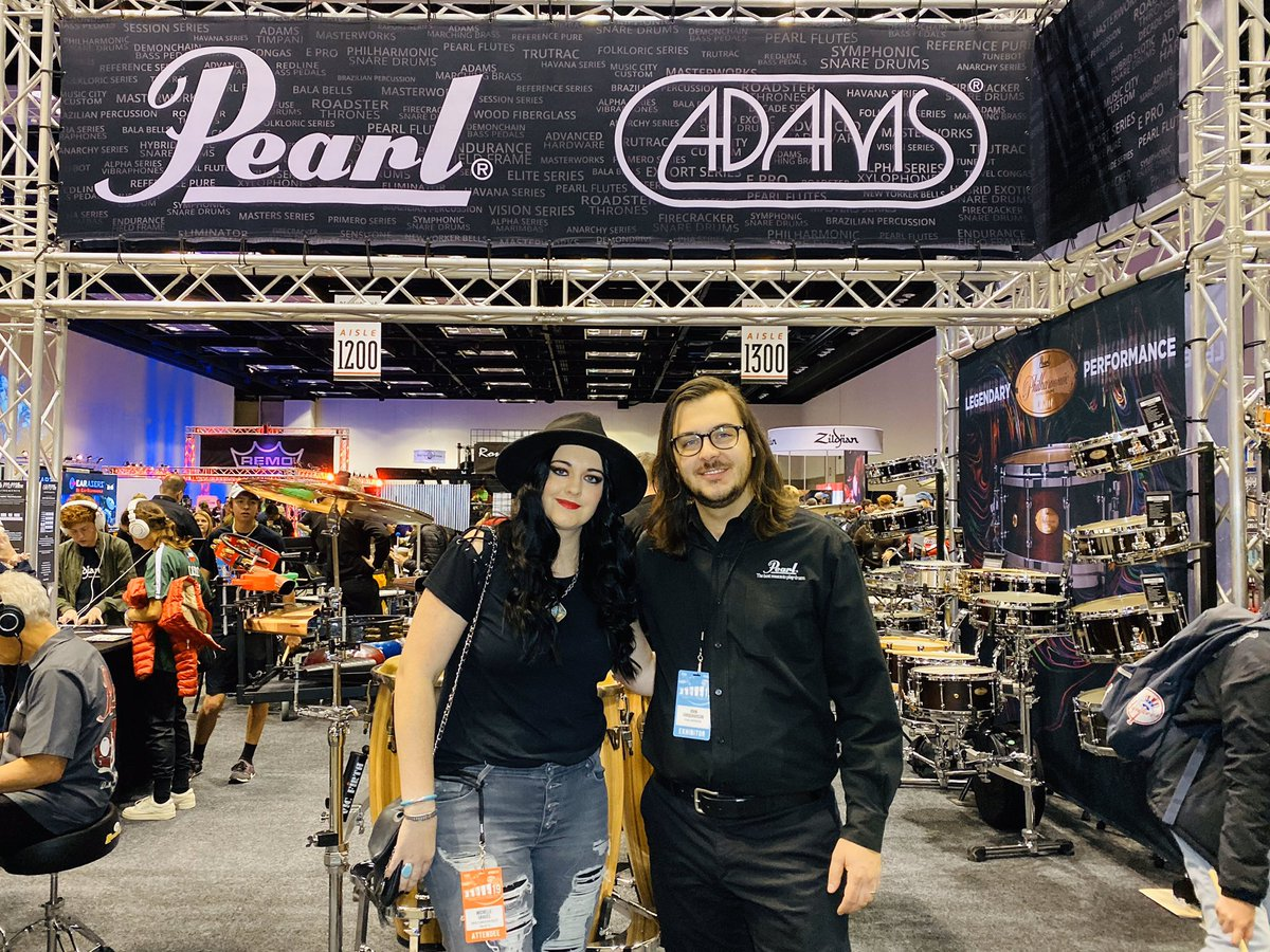 Our Director of Sponsorship & Corporate Relations, @michelleegraves stopped in to say THANK YOU to @PearlDrumCorp for their #sponsorship at #Drummathon2019!  Michelle with John Farquharson at @PASIC ❤️🤘🏻🥁 📷: @fotogrldg #PASIC19 #NeverNotWorking #Drums #PearlDrums #Thankful