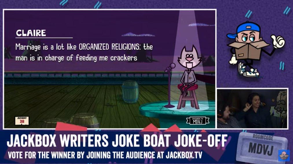 Who needs some quality Saturday morning content? Watch the Jackbox Writers Joke Boat Joke-Off now! http://bit.ly/2NJxbb3