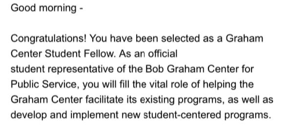 I am excited to be given another fantastic opportunity at UF! The Bob Graham Center for Public Service is an amazing and leading organization that serves our community.   I can't wait to flourish under their mentorship. #GoGators #BobGraham #TeamLahera