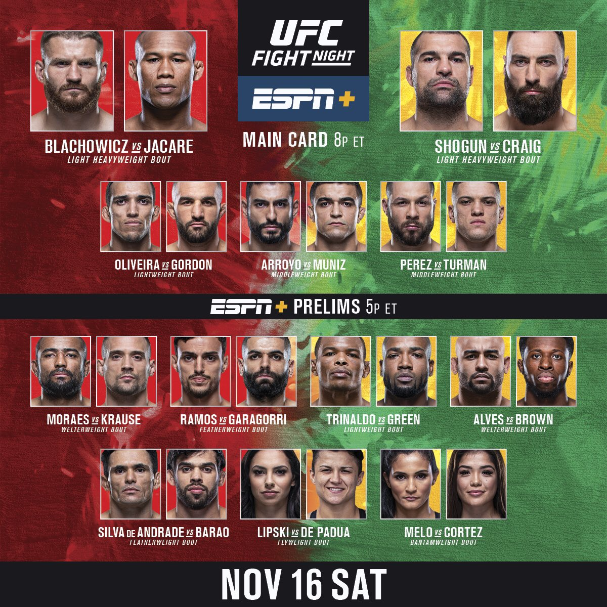 🇧🇷 Bom dia!   IT'S FIGHT DAY from Brazil! #UFCSP gets started on E+ at 5pmET https://t.co/EocdCnKKla