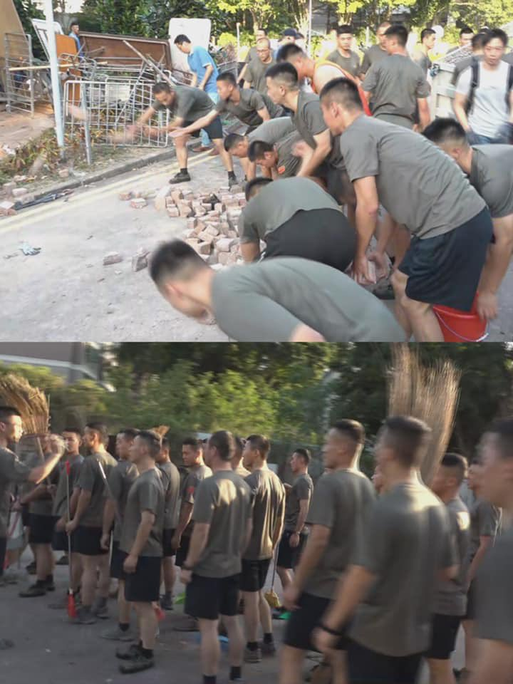 """Chinese troops appeared on streets of #HK today, claiming to be """"volunteering"""" to clear up streets. They are violating and ignoringthe Basic Law, as it is clearly stated that the PLA has no rights to provide service unless requested by the HK government.This is VERY alarming."""