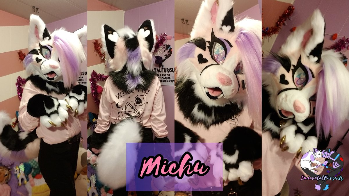 Official photos of Michu! For @pinkitsvne 💜 She features kanekalon hair, 3D eyes that glow in the dark, pierced ears with spacers, and a wiggly tail!  RTs are appreciated 💖 #fursuit #fursuits #FursuitFriday #fursuiter #fursuitmaker #furries #furryfandom