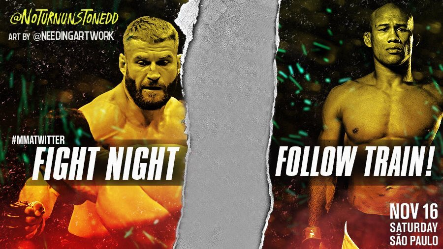 #UFCSaoPaulo FIGHT NIGHT FOLLOW TRAIN!!🔥💯   1. RETWEET & LIKE this Post. 2. Follow all MMA fans that RT/Like. 3. Drop your fight predictions in the thread. 4. Watch your following grow & connect with new fans!🚆  #UFC #MMATwitter #FightNightFollowTrain  Art by: @needingartwork