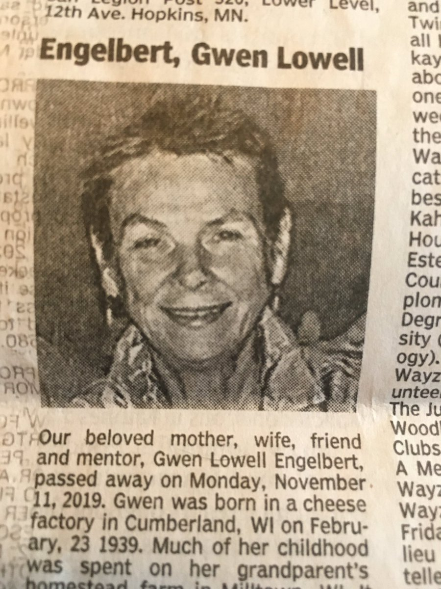 "From today's obit page: ""After graduating from high school, she attempted to enroll in the drafting program at Dunwoody. They turned her away because they did not have female restrooms."" Gwen was born in 1939, so this would have been in the late 1950s, before #TitleVII"