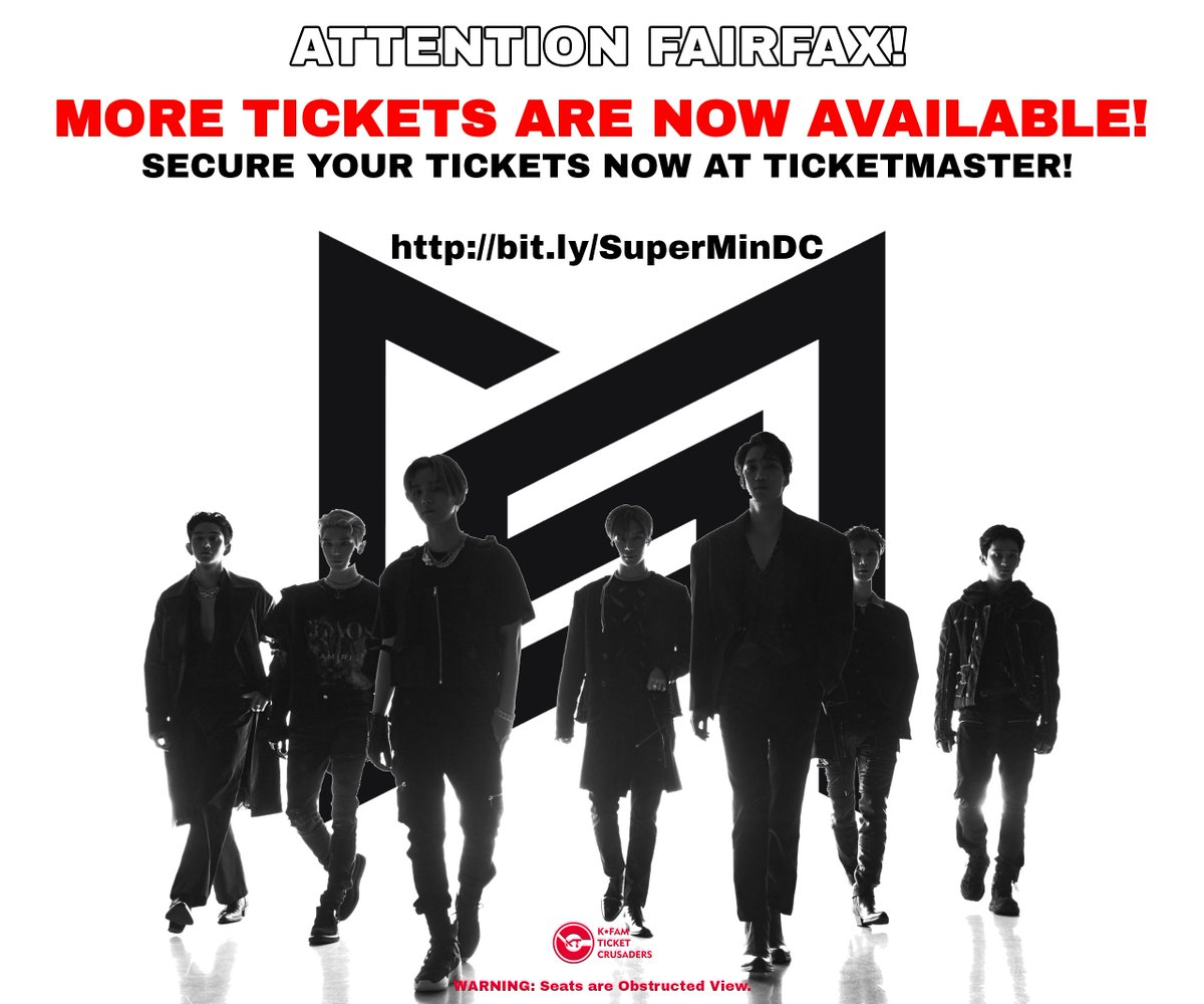 191116 TICKET ADDITION ANNOUNCEMENTFAIRFAX! More tickets have been added! If you haven't gotten one, go to the link below to buy tickets now!http://bit.ly/SuperMinDC#SUPERMTickets #SUPERMinATL #SUPERMinATLANTA #SuperM_Number1 #SuperMtheFuture #SuperM_KAI #KPOP