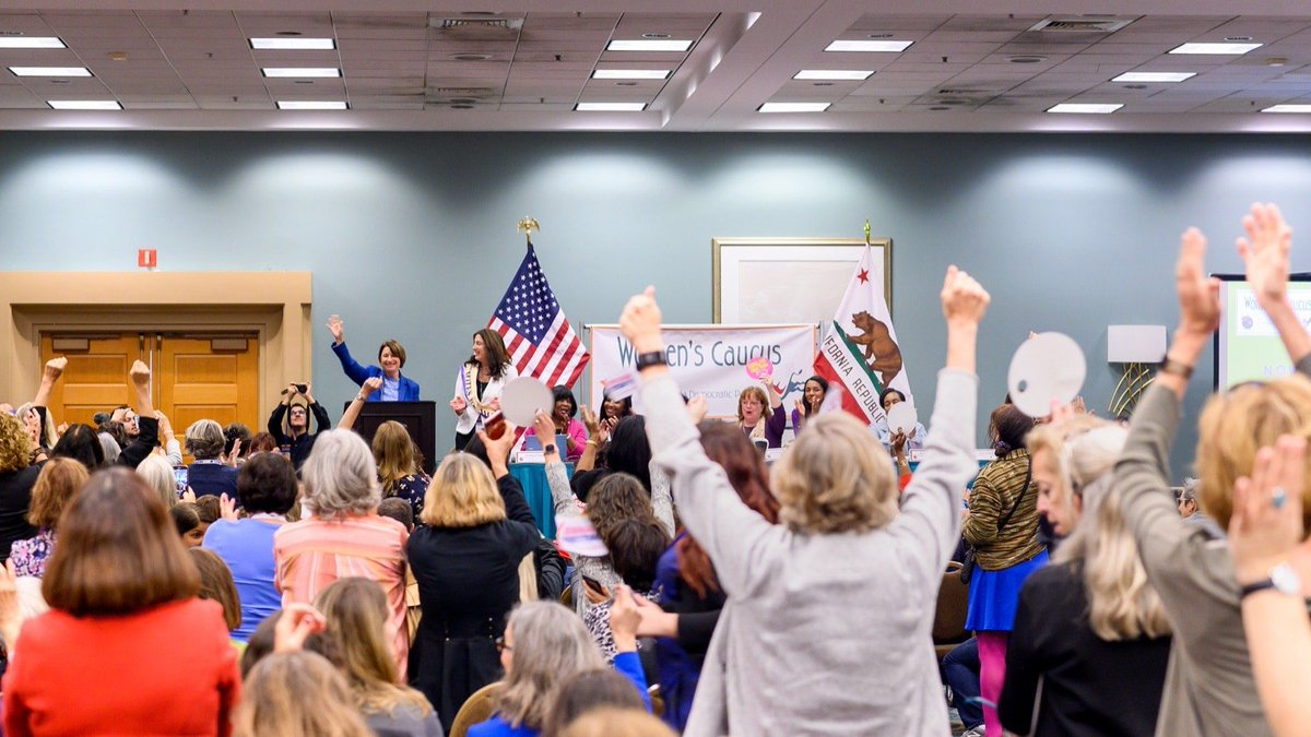Like I told the @CA_Dem Women's Caucus this morning, when people ask me if a woman can beat Donald Trump, I have one answer:  Yes. @SpeakerPelosi does it every day.