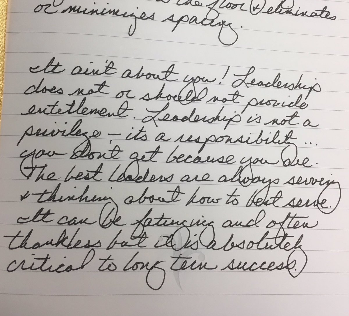 Journal entry today on #leadership