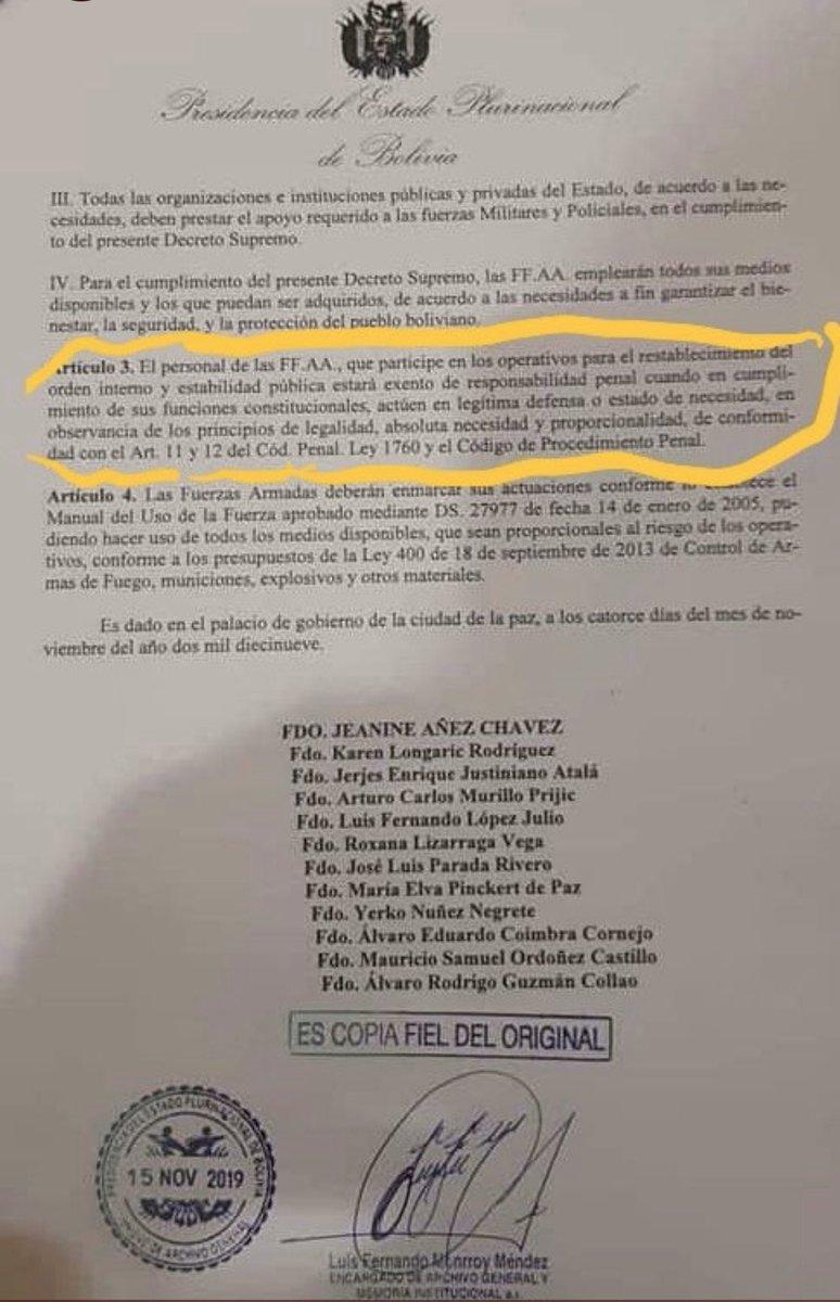 El gobierno de facto que usurpó el poder en Bolivia, ha liberado a las Fuerzas Armadas para que actúen sin tener que responder por sus crímenes. Crece el número de muertos. El Gobierno argentino calla. La OEA avala . @mbachelet y la ONU deben intervenir. #BoliviaGolpeDeEstado