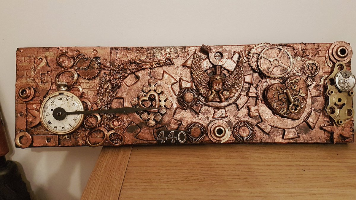 My latest Steampunk wall  art work. Coppers and golds  Handmade and designed  4.5 x 15.5 inches  £15.00 plus £5.00 postage #steampunk #steampunked #pub #bar #rustic #bikers #Ramsgate #homemade #homedecor #interior #bespoke #unique #cogsandgears