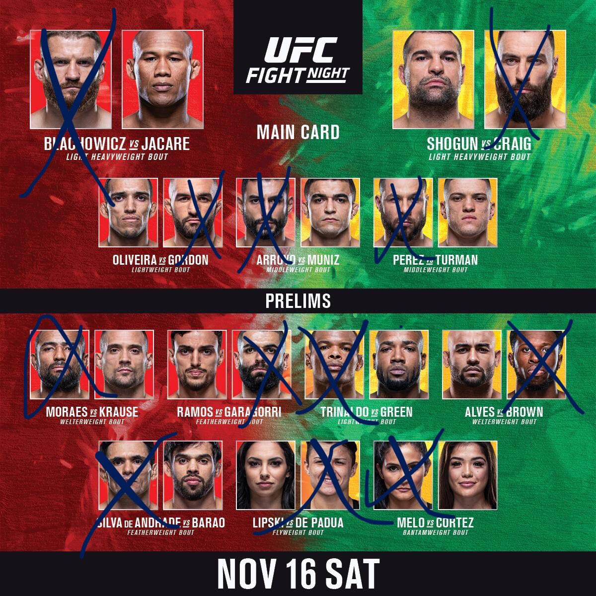 My picks for tonight! #UFCSaoPaulo #UFC #JACARE