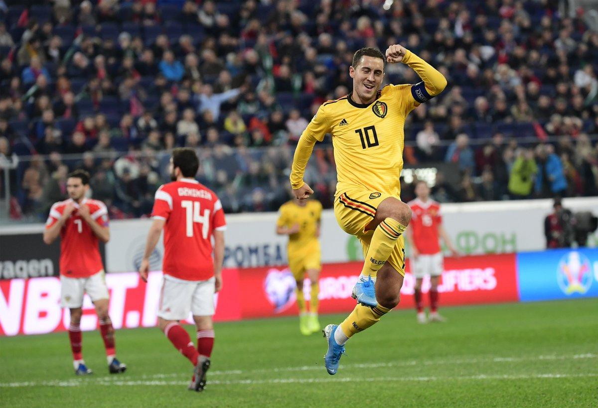 @hazardeden10 is now Belgium's second highest goalscorer after scoring twice  Russia!  #EURO2020 |  #HalaMadrid