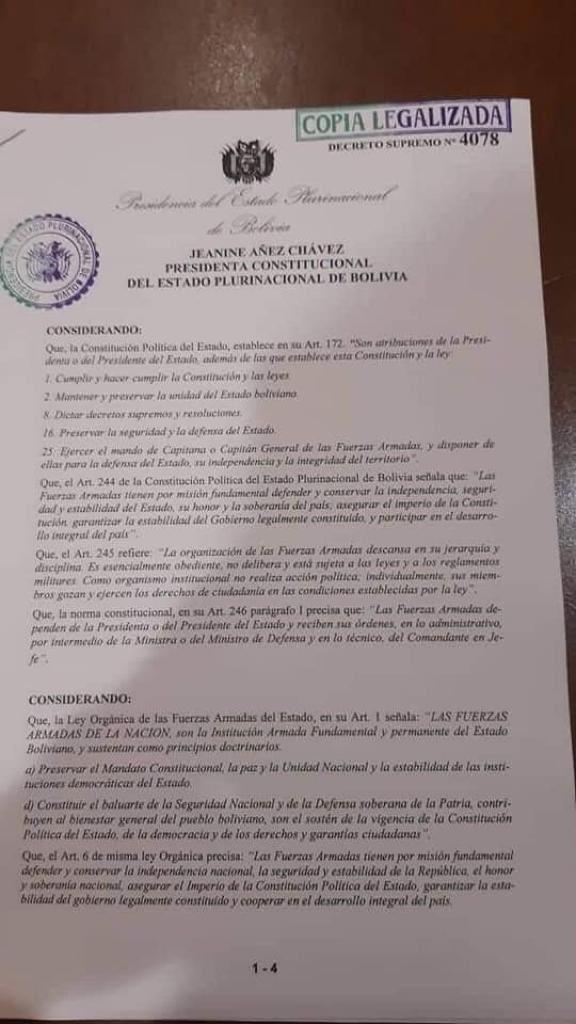 La @CIDH alerta para el Decreto Supremo No. 4078 sobre actuación de FF.AA. en #Bolivia, de fecha 15 de nov 2019. El Decreto pretende eximir de responsabilidad penal al personal de FF.AA. que participe en los operativos para reestablecimiento y estabilidad del orden interno. (1/3)
