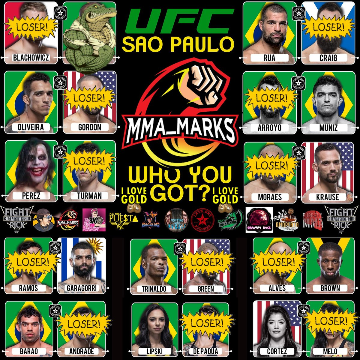 My fight picks #UFCSaoPaulo