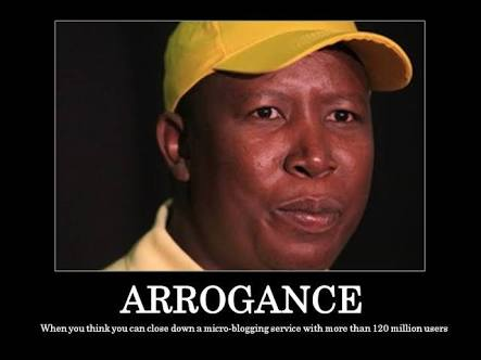 We must cut the throat of arrogance that is Julius Malema. The man thinks he has monopoly on thinking #BurnaBoyCanVoetsek <br>http://pic.twitter.com/keulj0tiRz