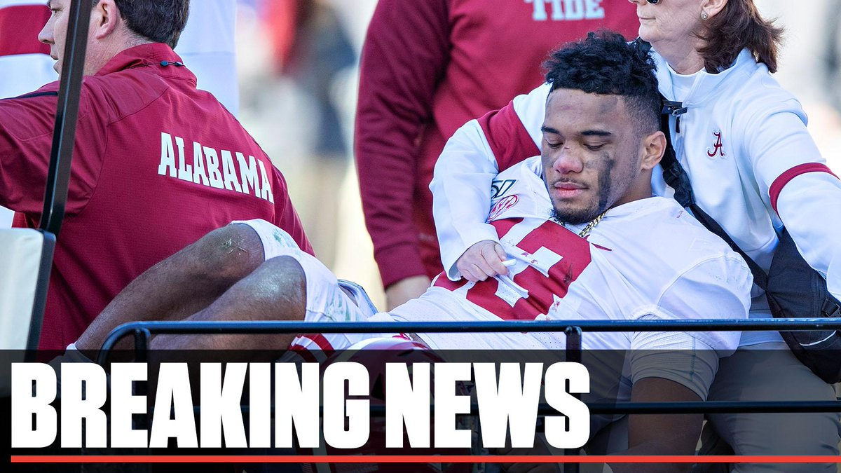 Breaking: Alabamas Tua Tagovailoa is not expected to play again this season after suffering a dislocated right hip on Saturday, first reported by The Athletic, confirmed by ESPN. Medical officials are continuing to evaluate if his injury also included a fracture, sources said.