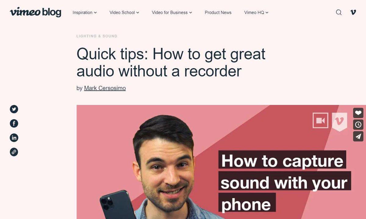How to capture sound with your phone #phone  #microphone  #solution  #subject  #app  #videomarketing  via  http://vimeo.com   ☛  http://vimeo.com  …
