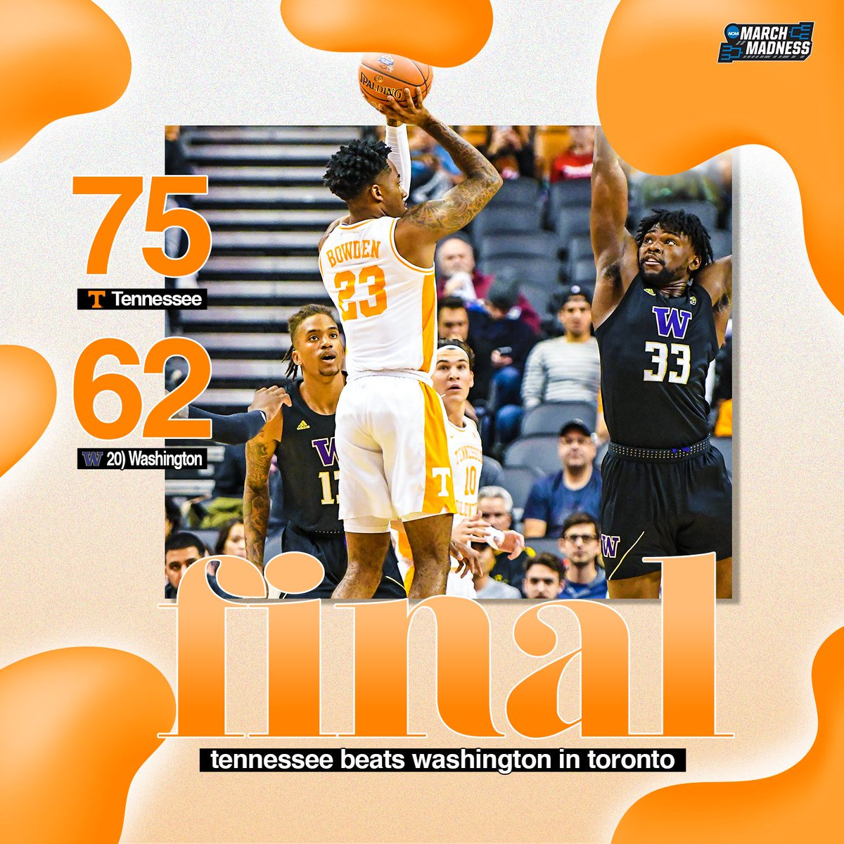 The #MapleVols get the W in Toronto!   Tennessee knocks off No. 20 Washington in the James Naismith Classic! #GBO<br>http://pic.twitter.com/UOfhH6A6er
