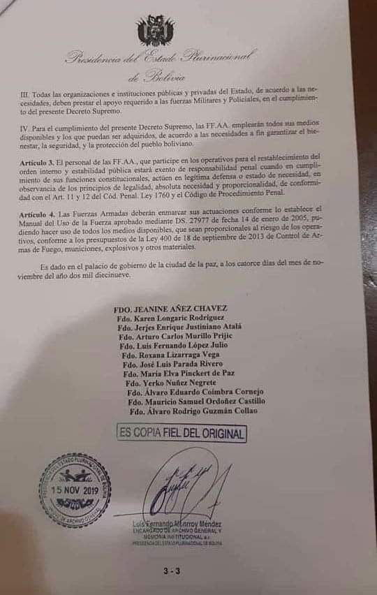 From @Ragerhus on FB  US-backed #Coup Regime in #Bolivia has just released an official order exempting the military from any punishment for repressing protesters.   Your daily dose of Murikan democracy ladies and gents. #BoliviaResiste <br>http://pic.twitter.com/nUmGUCOOjK