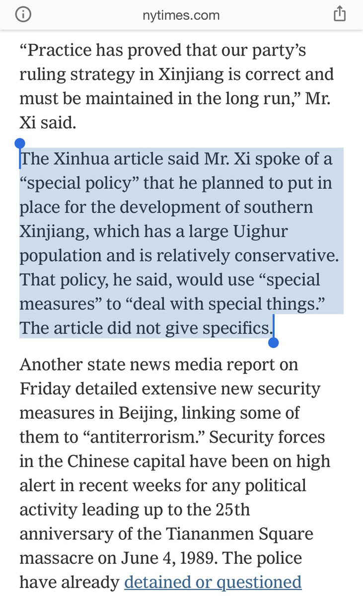 """After reading chilling China-Xinjiang story by @austinramzy & @ChuBailiang, I reread our 2014 story on Xi at Xinjiang work forum. Xinhua said Xi spoke of new """"special policy"""" in south Xinjiang w/ """"special measures"""" to """"deal with special things."""" The camps? https://t.co/z0l381FSc5 https://t.co/QEDEnoB14d"""