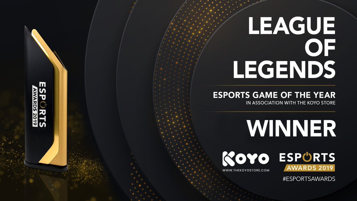 """Esports Awards on Twitter: """"The winner of the Esports Game of the Year 2019 in association with @thekoyostore is @LeagueOfLegends #EsportsAwards… https://t.co/b4TnuQVhnk"""""""