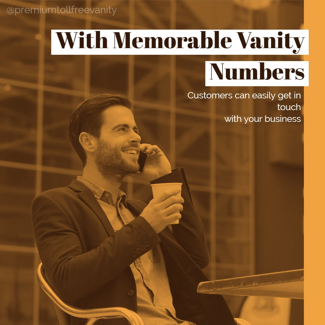 With Memorable Vanity numbers, Customers can easily get in touch with your business  http:// bit.ly/2FaUg0V     #smallbiz #marketing #tollfreenumbers #smsmarketing #emailmarketing<br>http://pic.twitter.com/SkwKmh7q8q
