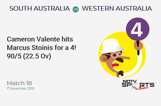 Match 18: Cameron Valente hits Marcus Stoinis for a 4!  90/5 (22.5 Ov) #SAvWA https://t.co/1rc6IpOlXK https://t.co/XWFPpglATN