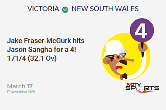 Match 17: Jake Fraser-McGurk hits Jason Sangha for a 4!  171/4 (32.1 Ov) #VICvNSW https://t.co/AD5sHG4Z50 https://t.co/VhLfaQHnrS