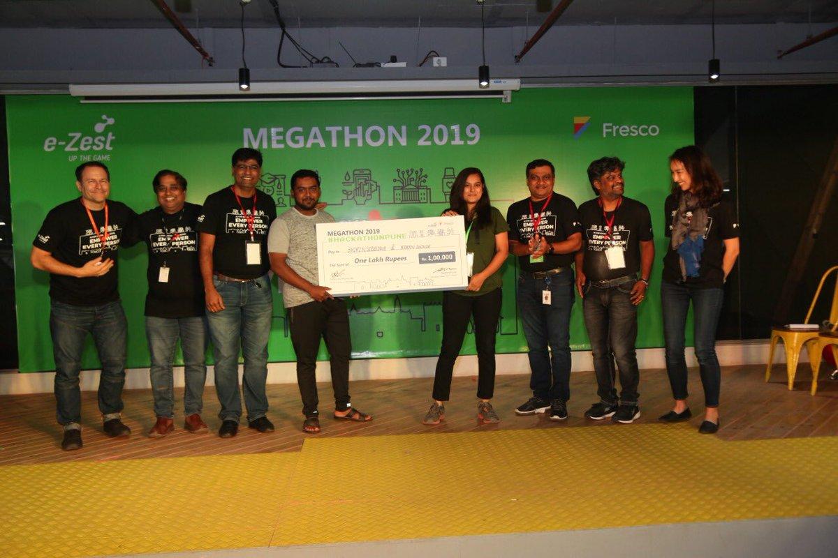 RT ezest: RT amolpande: Winners and team Megathon 2019 👍🏻👍🏻#Megathon2019 #HackathonPune #StartupBootup #UpTheGame #AI #AIforGood ezest worksonmypc