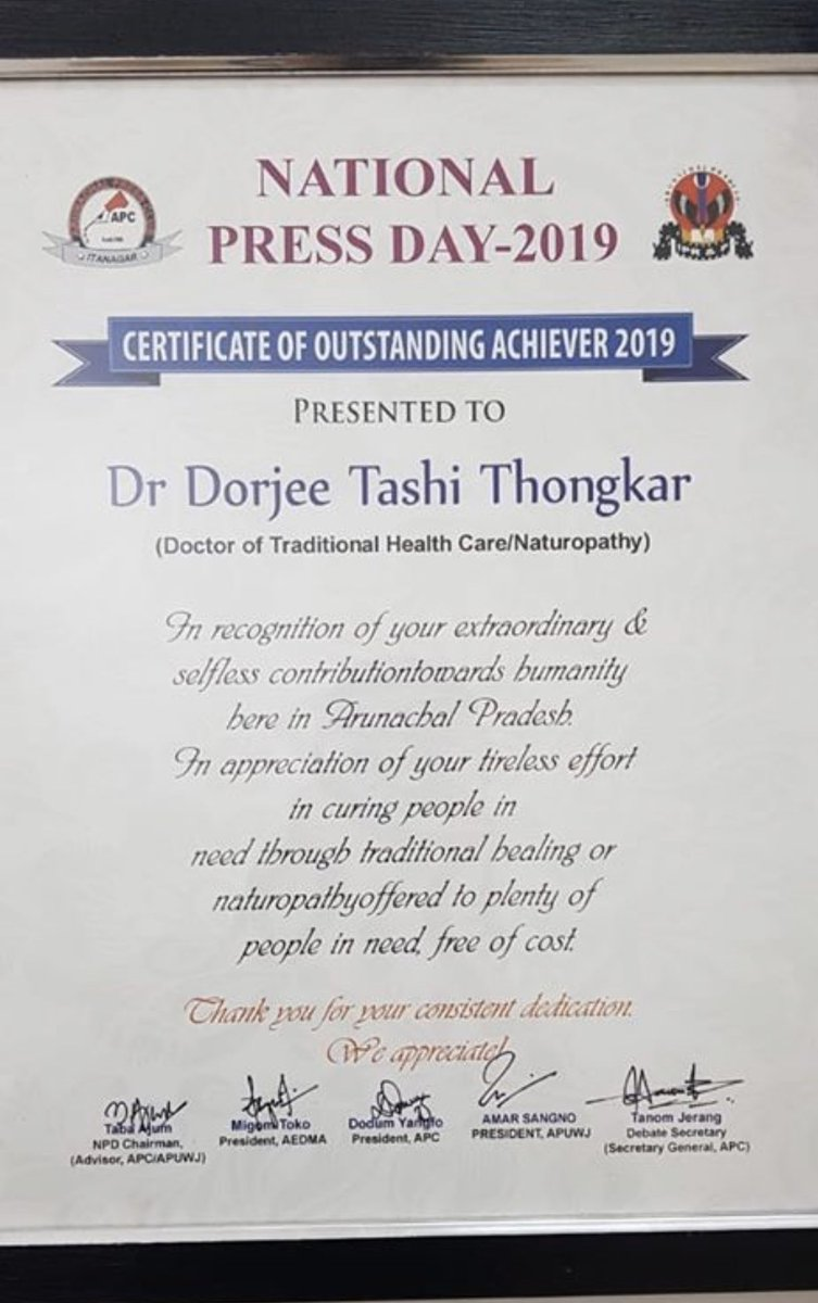 Congratulations Dr. DT Thongkar (Raptan) for the outstanding achiever's award 2019 by Arunachal Press Club.One of the specialties of Dr Rapten's treatment is 'SPOON THERAPY'. Treated more than 15,000 patients free of cost suffering from various ailments in 2 years of time.