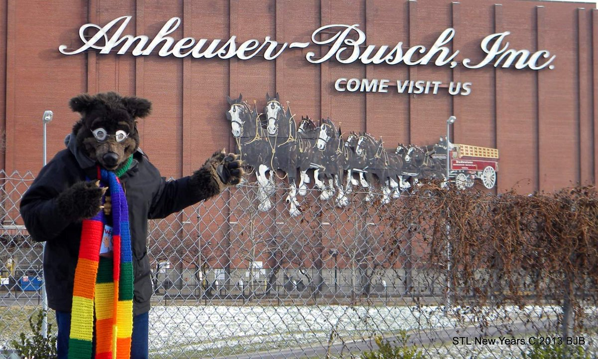 #fursuitfriday Beer Bear? Waldolf at the Anheuser Bush Brewery in St. Louis Mo @fursuitersWorld