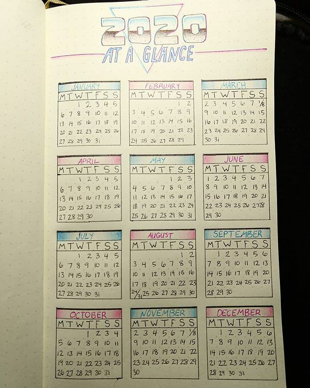 """I was impatient and made next year's """"at a glance"""" page! Going for that retro 80's look.  #bulletjournal #bulletjournaling #bulletjournalideas #bulletjournals #retro #retroaesthetic #retrowave #retroart #sketch #sketchbook #drawing#coloredpencil #pen #i…"""