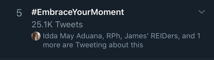 Yey! On 5th spot! Thank you everyone   • Nadine Lustre • #EmbraceYourMoment <br>http://pic.twitter.com/YXhqTxOIsG
