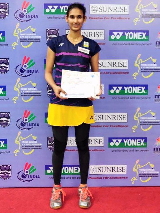 Ruthvika ka Dhamaka! 💥#RuthvikaShivani claimed the WS title🏆 after stunning no.1️⃣3️⃣ seeded shuttler- #ShrutiMundada in the finals of #YonexSunrise All India Senior Ranking Tournament, Pune. Score 👉: 21-10, 21-17.Congrats champ!👏#IndiaontheRise #badminton