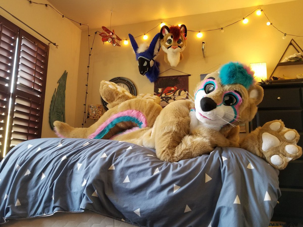 Happy late #FursuitFriday! Come hop on the bed with me! There's plenty of space~  📸:@SkyeCabbit