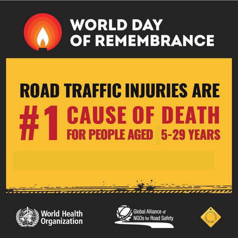 Road traffic injuries are number 1⃣ cause of death for people aged 5-29 years old http://bit.ly/32PPgIR #RoadSafety #WDoR2019