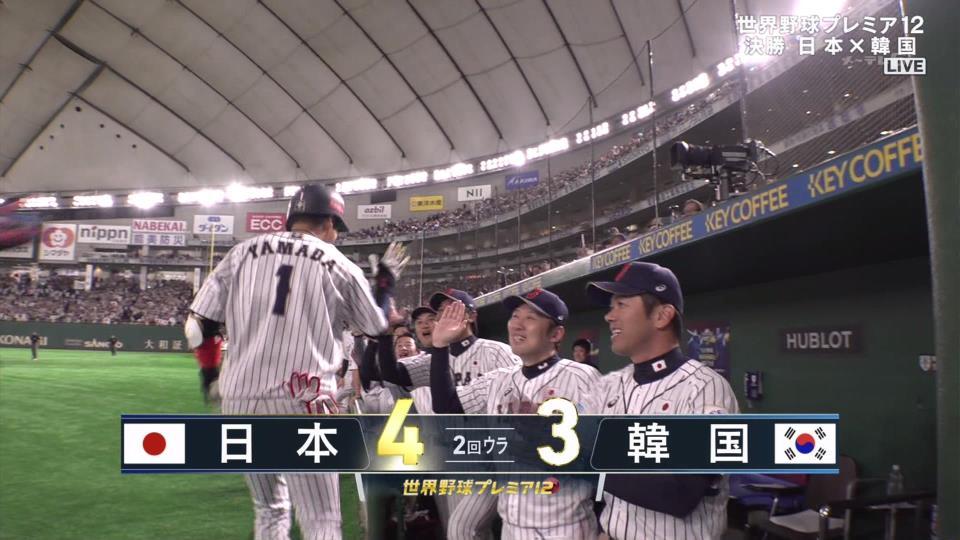 山田哲人、逆転3ランホームラン侍ジャパン、1点リードです