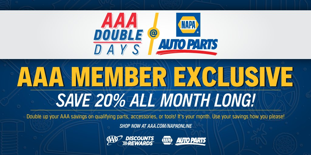 Exclusive #AAADiscounts Offer:  Double your savings in November to 20% on qualifying parts, accessories or tools at @NAPAKnowHow Stores!  Shop in-store or online at .