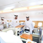 Image for the Tweet beginning: Emirates @Airbus A380 receives royal
