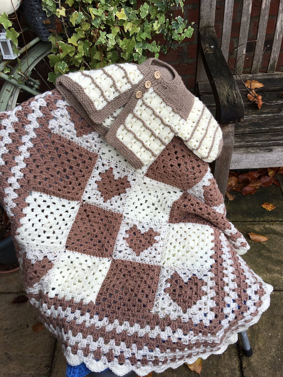 A gorgeous crochet baby blanket ready for a new home Inspired by #thepatchworkheart granny sq hearts shades of mocha & cream, can post out tomorrow, ideal gift, baby will be warm & cosy. wash 40o cool tumble #Stylecraft #kingcole  #woolshop #indie #handmade #babyblanket #babygift