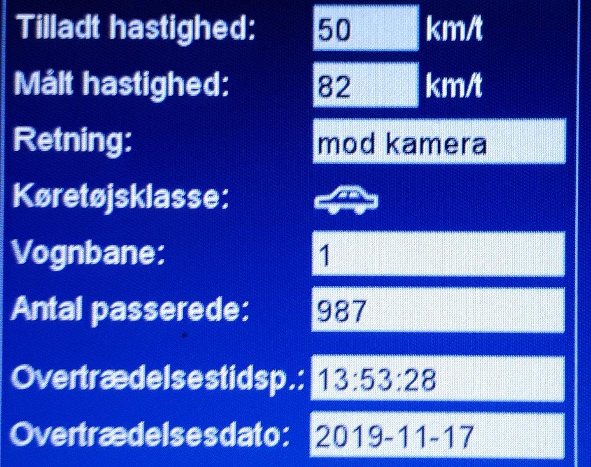 66 bilister havde for travlt denne søndag, hvor fotovognen var på Koldingvej i Toftlund, deraf var der 8 bilister der får klip i kørekortet, hvor den hurtigste kørte 82 km/t, hvor der må køres 50 km/t, sænk farten så alle kommer sikkert frem #atkdk #politidk https://t.co/ORazyaxHnc