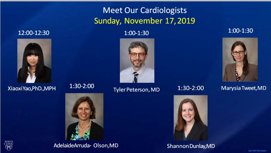 Attending #AHA2019? Stop by booth #3303 today to visit with Mayo Clinic faculty! Check out the schedule below!
