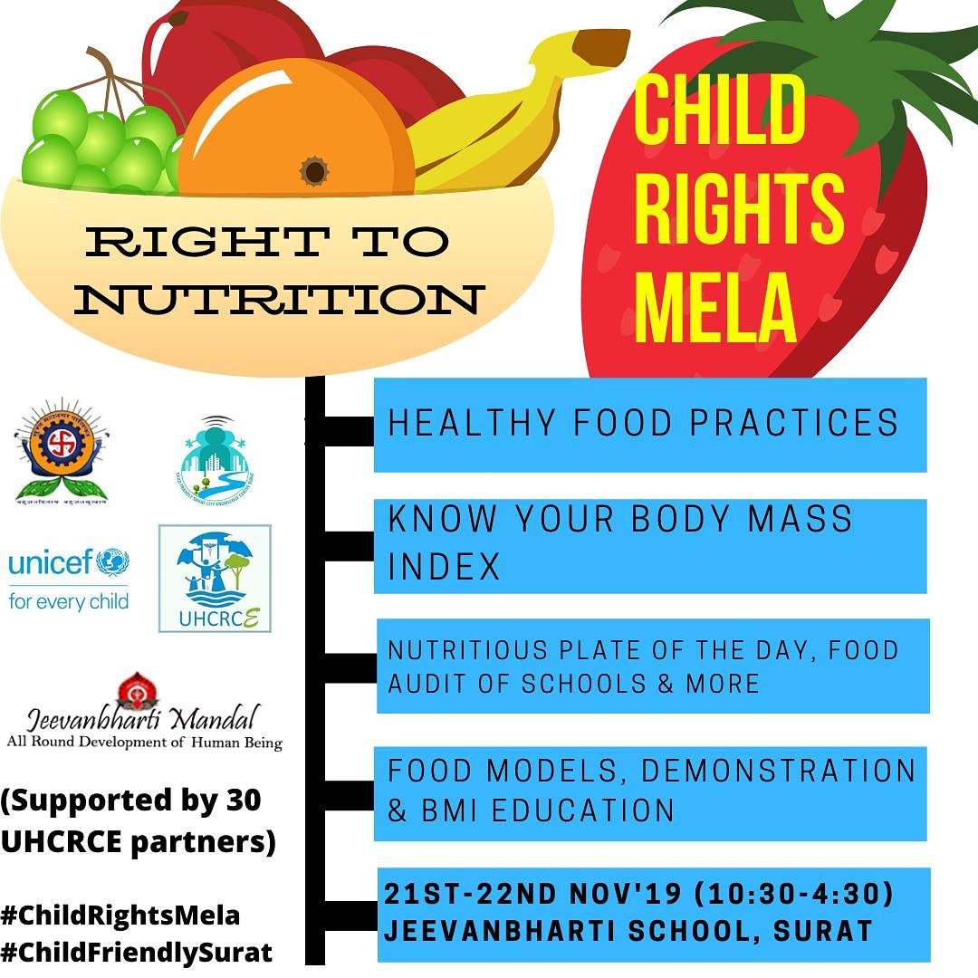 Together let's join hands to look after the city's nutrition  #chilsfriendlycities #crc30 #uncrc #unicefindia #childrightsmela #Surat #UNICEF #Children #Learn #Rights #play #Mela #Fun #enjoy #childfriendlysurat #games #environment #Survival #righttonutrition #food #vitamins