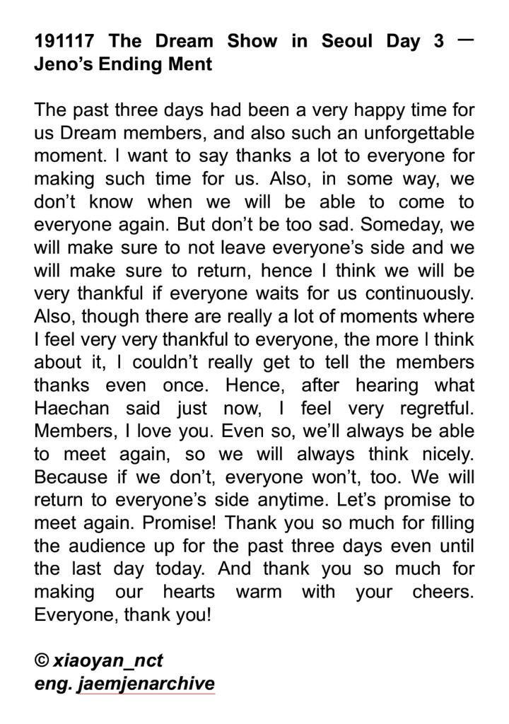 191117 #THE_DREAM_SHOW_DAY3  Jeno's and Jaemin's Ending Ment: <br>http://pic.twitter.com/UNkUHANsZA