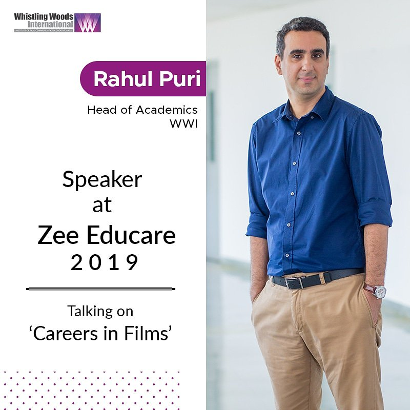 @rahulpuri, has been invited as a guest speaker, at @ZeeEducare 2019, on November 23, at Tulip Star, Juhu, Mumbai. Speaking on Careers in Films, he will extensively cover various aspects of career options and opportunities in the field of media and entertainment. #DoWhatYouLove