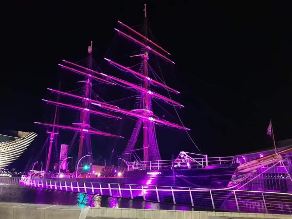 Thank you to RRS Discovery for lighting up purple for prematurity day. 💜 https://t.co/htJN40FLAd